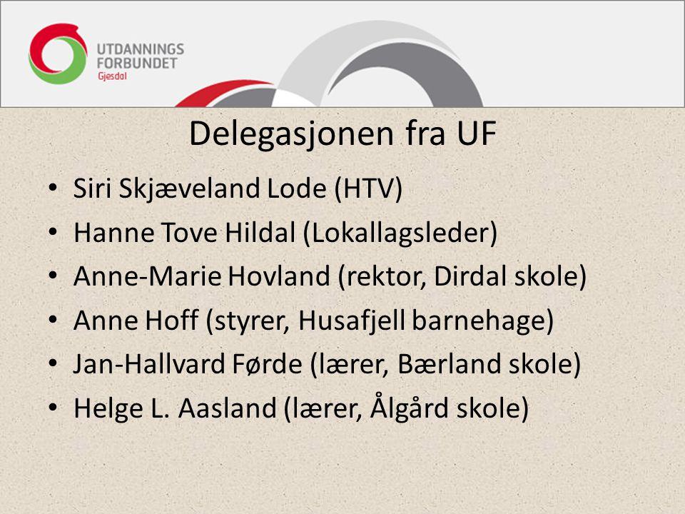 Delegasjonen fra UF Siri Skjæveland Lode (HTV) Hanne Tove Hildal (Lokallagsleder) Anne-Marie Hovland (rektor, Dirdal skole) Anne Hoff (styrer, Husafje