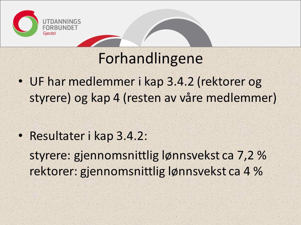 Forhandlingene UF har medlemmer i kap 3.4.2 (rektorer og styrere) og kap 4 (resten av våre medlemmer) Resultater i kap 3.4.2: styrere: gjennomsnittlig