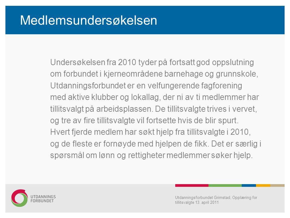 Medlemsundersøkelsen Undersøkelsen fra 2010 tyder på fortsatt god oppslutning om forbundet i kjerneområdene barnehage og grunnskole, Utdanningsforbund