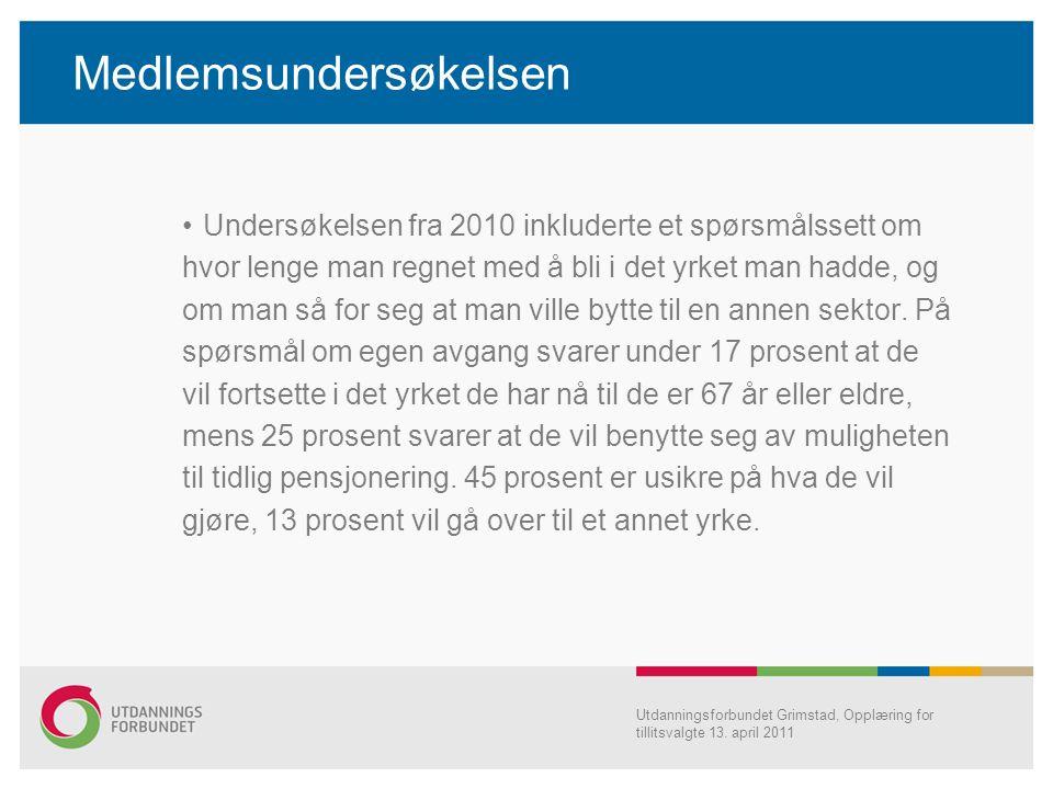Medlemsundersøkelsen Undersøkelsen fra 2010 inkluderte et spørsmålssett om hvor lenge man regnet med å bli i det yrket man hadde, og om man så for seg