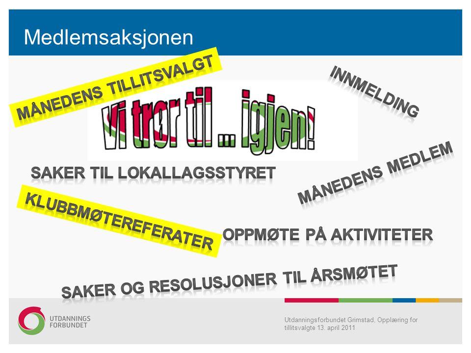 Utdanningsforbundet Grimstad, Opplæring for tillitsvalgte 13. april 2011 Medlemsaksjonen