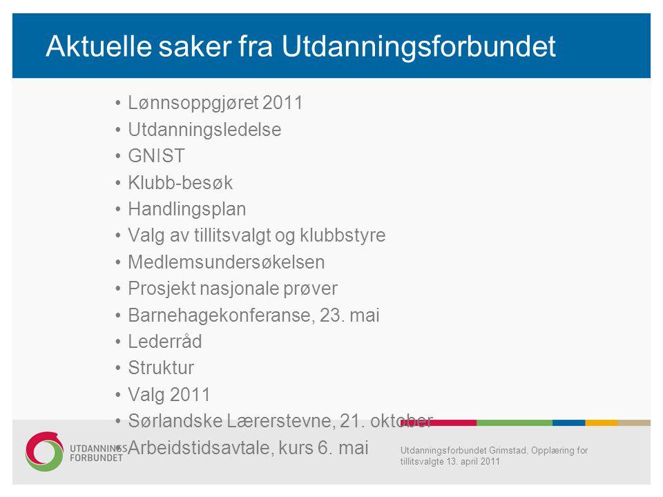 Aktuelle saker fra Utdanningsforbundet Lønnsoppgjøret 2011 Utdanningsledelse GNIST Klubb-besøk Handlingsplan Valg av tillitsvalgt og klubbstyre Medlem