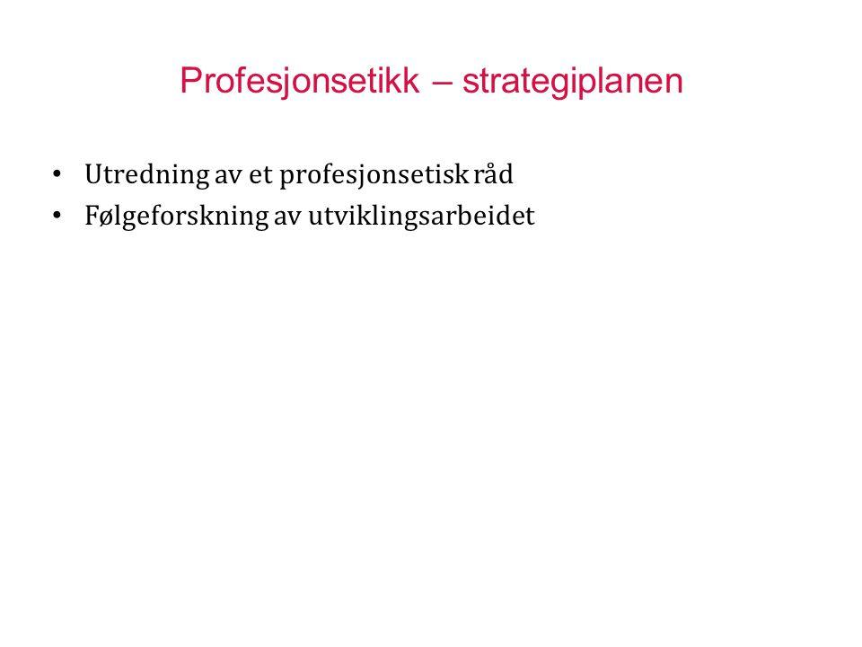 Profesjonsetikk – strategiplanen Utredning av et profesjonsetisk råd Følgeforskning av utviklingsarbeidet