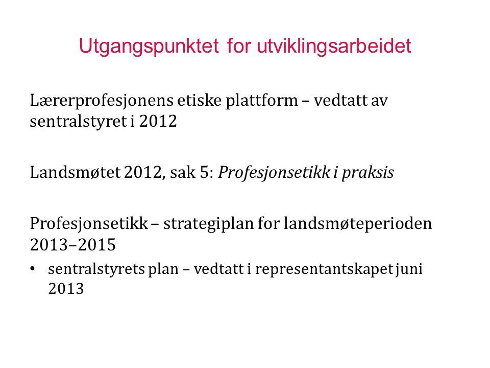 Utgangspunktet for utviklingsarbeidet Lærerprofesjonens etiske plattform – vedtatt av sentralstyret i 2012 Landsmøtet 2012, sak 5: Profesjonsetikk i p
