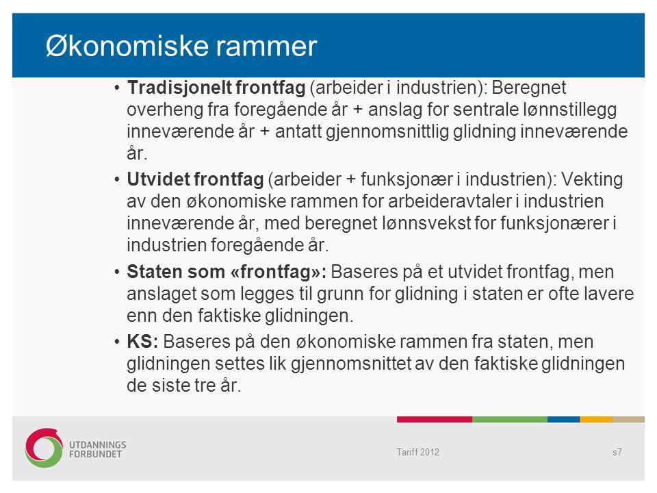 Økonomiske rammer Tradisjonelt frontfag (arbeider i industrien): Beregnet overheng fra foregående år + anslag for sentrale lønnstillegg inneværende år
