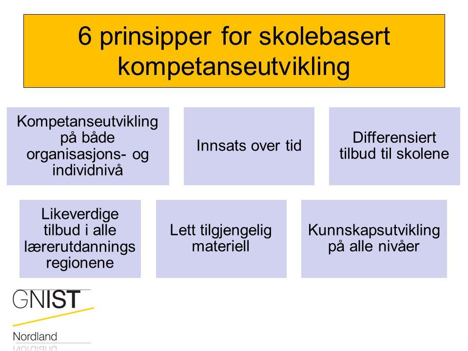 6 prinsipper for skolebasert kompetanseutvikling Kompetanseutvikling på både organisasjons- og individnivå Innsats over tid Differensiert tilbud til s