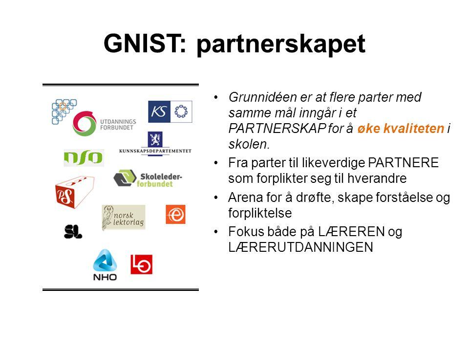 GNIST: partnerskapet Grunnidéen er at flere parter med samme mål inngår i et PARTNERSKAP for å øke kvaliteten i skolen. Fra parter til likeverdige PAR