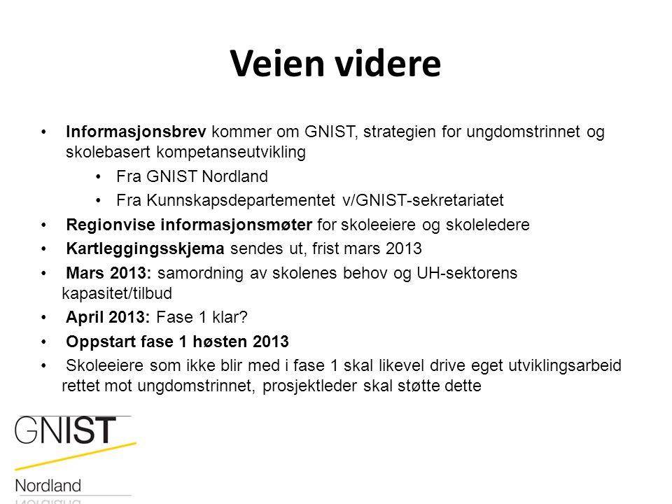 Veien videre Informasjonsbrev kommer om GNIST, strategien for ungdomstrinnet og skolebasert kompetanseutvikling Fra GNIST Nordland Fra Kunnskapsdepart