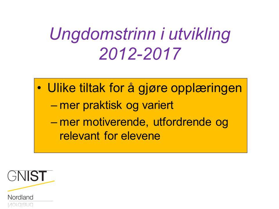 Ungdomstrinn i utvikling 2012-2017 Ulike tiltak for å gjøre opplæringen –mer praktisk og variert –mer motiverende, utfordrende og relevant for elevene