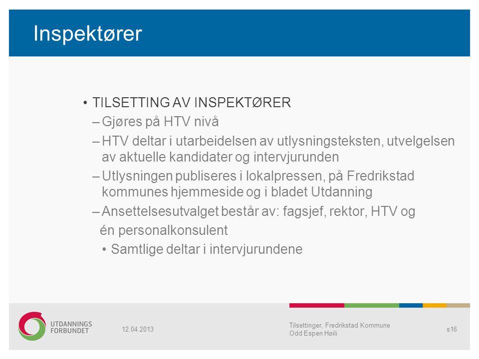 Inspektører TILSETTING AV INSPEKTØRER –Gjøres på HTV nivå –HTV deltar i utarbeidelsen av utlysningsteksten, utvelgelsen av aktuelle kandidater og inte