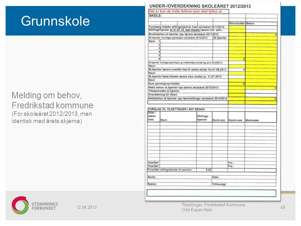 Grunnskole 12.04.2013 Tilsettinger, Fredrikstad Kommune Odd Espen Høili s9 Melding om behov, Fredrikstad kommune (For skoleåret 2012/2013, men identis