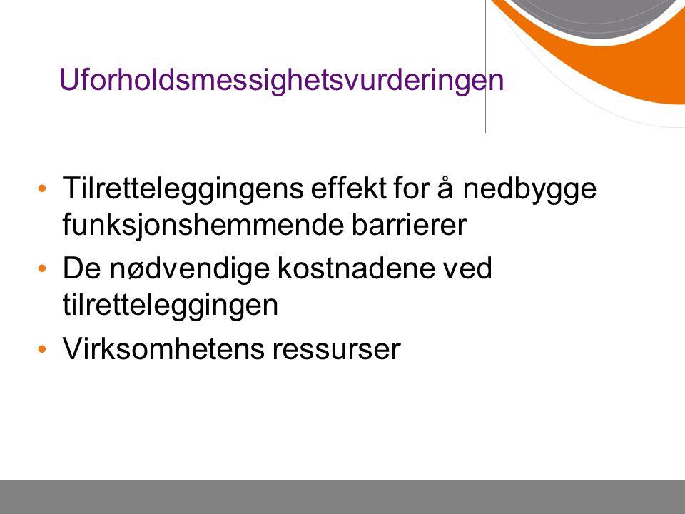 Uforholdsmessighetsvurderingen Tilretteleggingens effekt for å nedbygge funksjonshemmende barrierer De nødvendige kostnadene ved tilretteleggingen Virksomhetens ressurser