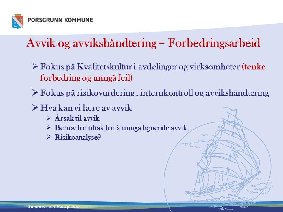 Avvik og avvikshåndtering = Forbedringsarbeid  Fokus på Kvalitetskultur i avdelinger og virksomheter (tenke forbedring og unngå feil)  Fokus på risi