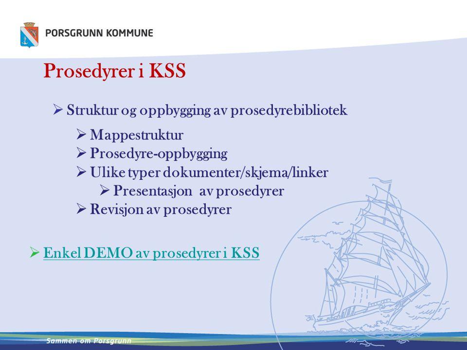 Prosedyrer i KSS  Struktur og oppbygging av prosedyrebibliotek  Mappestruktur  Prosedyre-oppbygging  Ulike typer dokumenter/skjema/linker  Presen