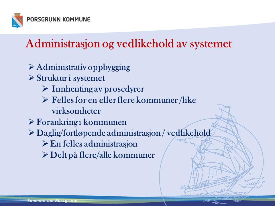 Administrasjon og vedlikehold av systemet  Administrativ oppbygging  Struktur i systemet  Innhenting av prosedyrer  Felles for en eller flere komm
