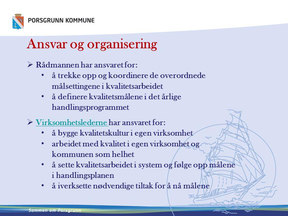 Ansvar og organisering  Rådmannen har ansvaret for: å trekke opp og koordinere de overordnede målsettingene i kvalitetsarbeidet å definere kvalitetsm