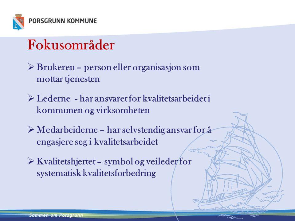 Fokusområder  Brukeren – person eller organisasjon som mottar tjenesten  Lederne - har ansvaret for kvalitetsarbeidet i kommunen og virksomheten  M