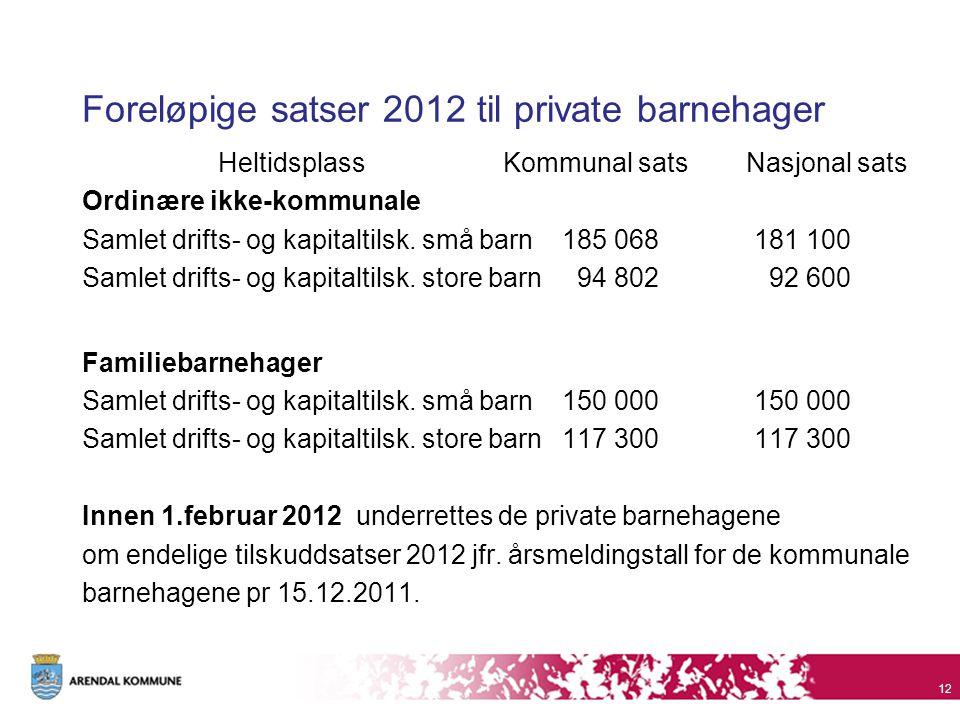 Foreløpige satser 2012 til private barnehager Heltidsplass Kommunal sats Nasjonal sats Ordinære ikke-kommunale Samlet drifts- og kapitaltilsk. små bar