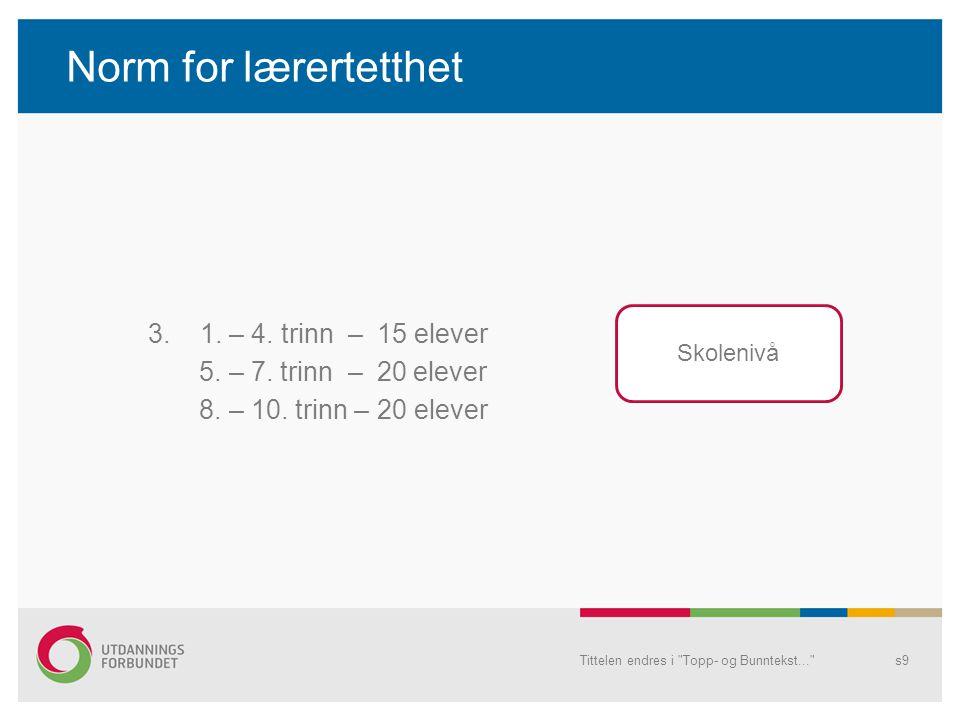 Norm for lærertetthet 3.1. – 4. trinn – 15 elever 5.