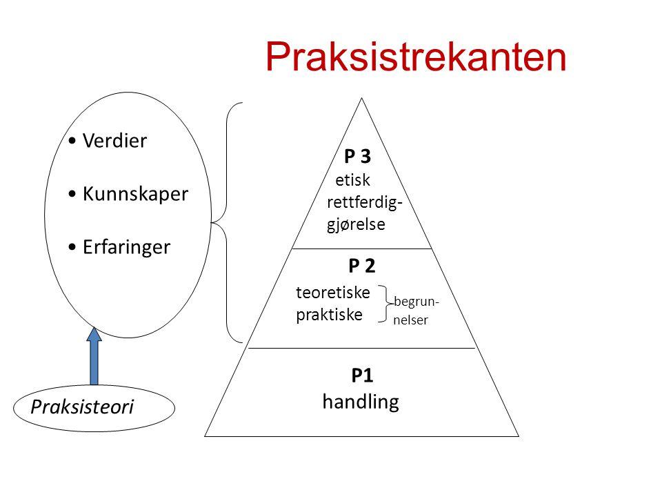 Praksistrekanten P1 handling teoretiske praktiske Verdier Kunnskaper Erfaringer begrun- nelser P 2 P 3 etisk rettferdig- gjørelse Praksisteori