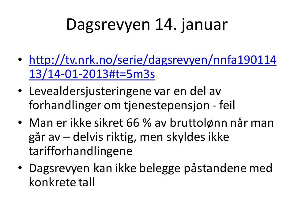 Dagsrevyen 14. januar http://tv.nrk.no/serie/dagsrevyen/nnfa190114 13/14-01-2013#t=5m3s http://tv.nrk.no/serie/dagsrevyen/nnfa190114 13/14-01-2013#t=5