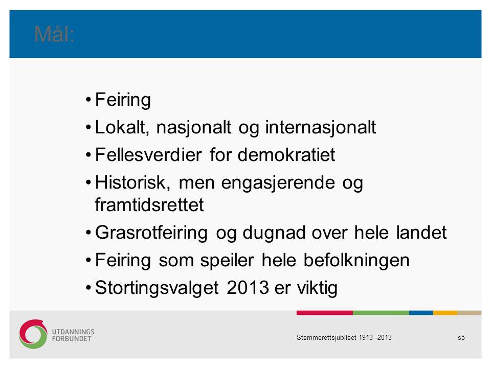 Mål: Feiring Lokalt, nasjonalt og internasjonalt Fellesverdier for demokratiet Historisk, men engasjerende og framtidsrettet Grasrotfeiring og dugnad