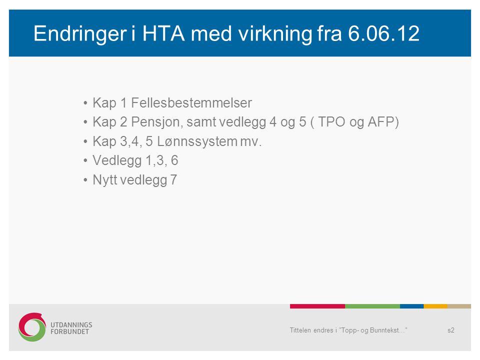 Endringer i HTA med virkning fra 6.06.12 Kap 1 Fellesbestemmelser Kap 2 Pensjon, samt vedlegg 4 og 5 ( TPO og AFP) Kap 3,4, 5 Lønnssystem mv.