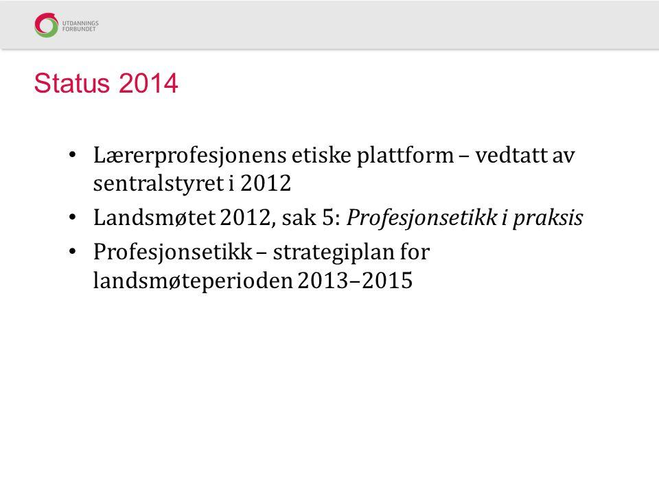Status 2014 Lærerprofesjonens etiske plattform – vedtatt av sentralstyret i 2012 Landsmøtet 2012, sak 5: Profesjonsetikk i praksis Profesjonsetikk – strategiplan for landsmøteperioden 2013–2015