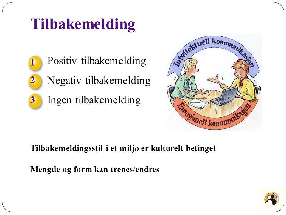 Tilbakemelding Tilbakemeldingsstil i et miljø er kulturelt betinget Mengde og form kan trenes/endres 123123 Positiv tilbakemelding Negativ tilbakemeld
