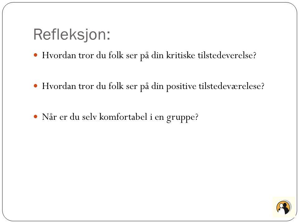 Refleksjon: Hvordan tror du folk ser på din kritiske tilstedeverelse? Hvordan tror du folk ser på din positive tilstedeværelese? Når er du selv komfor