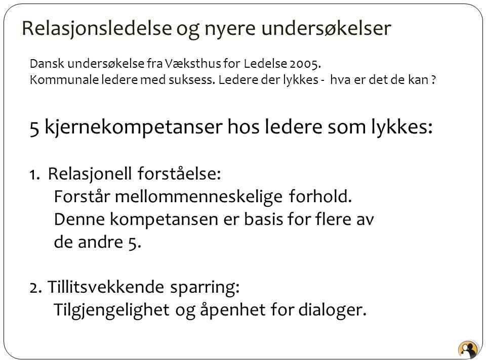 Relasjonsledelse og nyere undersøkelser Dansk undersøkelse fra Væksthus for Ledelse 2005. Kommunale ledere med suksess. Ledere der lykkes - hva er det