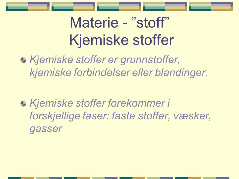 """Materie - """"stoff"""" Kjemiske stoffer Kjemiske stoffer er grunnstoffer, kjemiske forbindelser eller blandinger. Kjemiske stoffer forekommer i forskjellig"""