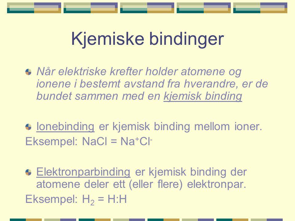 Kjemiske bindinger Når elektriske krefter holder atomene og ionene i bestemt avstand fra hverandre, er de bundet sammen med en kjemisk binding Ionebin