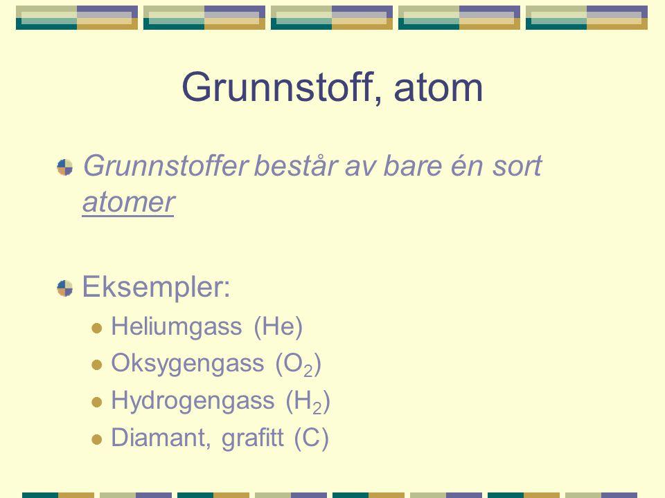 Grunnstoff, atom Grunnstoffer består av bare én sort atomer Eksempler: Heliumgass (He) Oksygengass (O 2 ) Hydrogengass (H 2 ) Diamant, grafitt (C)