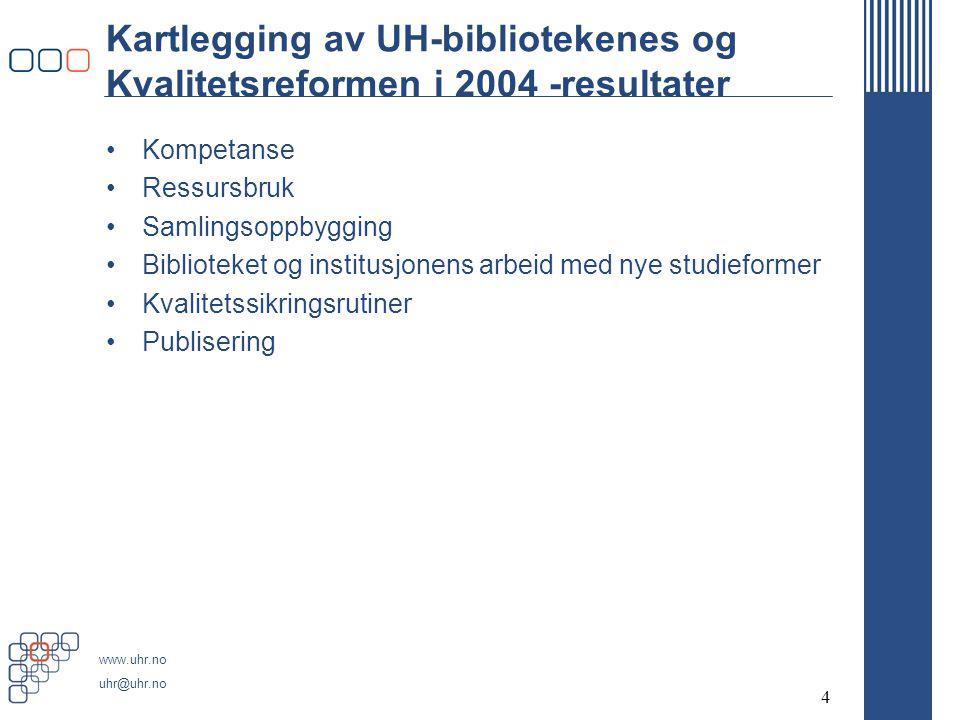 www.uhr.no uhr@uhr.no 4 Kartlegging av UH-bibliotekenes og Kvalitetsreformen i 2004 -resultater Kompetanse Ressursbruk Samlingsoppbygging Biblioteket og institusjonens arbeid med nye studieformer Kvalitetssikringsrutiner Publisering