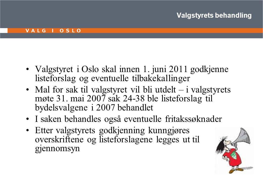 Valgstyrets behandling Valgstyret i Oslo skal innen 1. juni 2011 godkjenne listeforslag og eventuelle tilbakekallinger Mal for sak til valgstyret vil