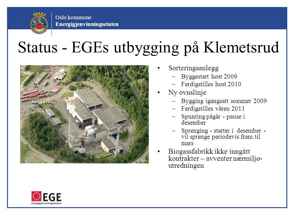 Oslo kommune Energigjenvinningsetaten Status - EGEs utbygging på Klemetsrud Sorteringsanlegg –Byggestart høst 2009 –Ferdigstilles høst 2010 Ny ovnslin