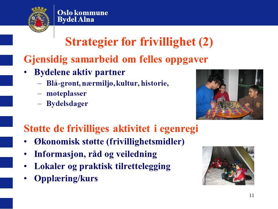 Oslo kommune Bydel Alna 11 Strategier for frivillighet (2) Gjensidig samarbeid om felles oppgaver Bydelene aktiv partner –Blå-grønt, nærmiljø, kultur,