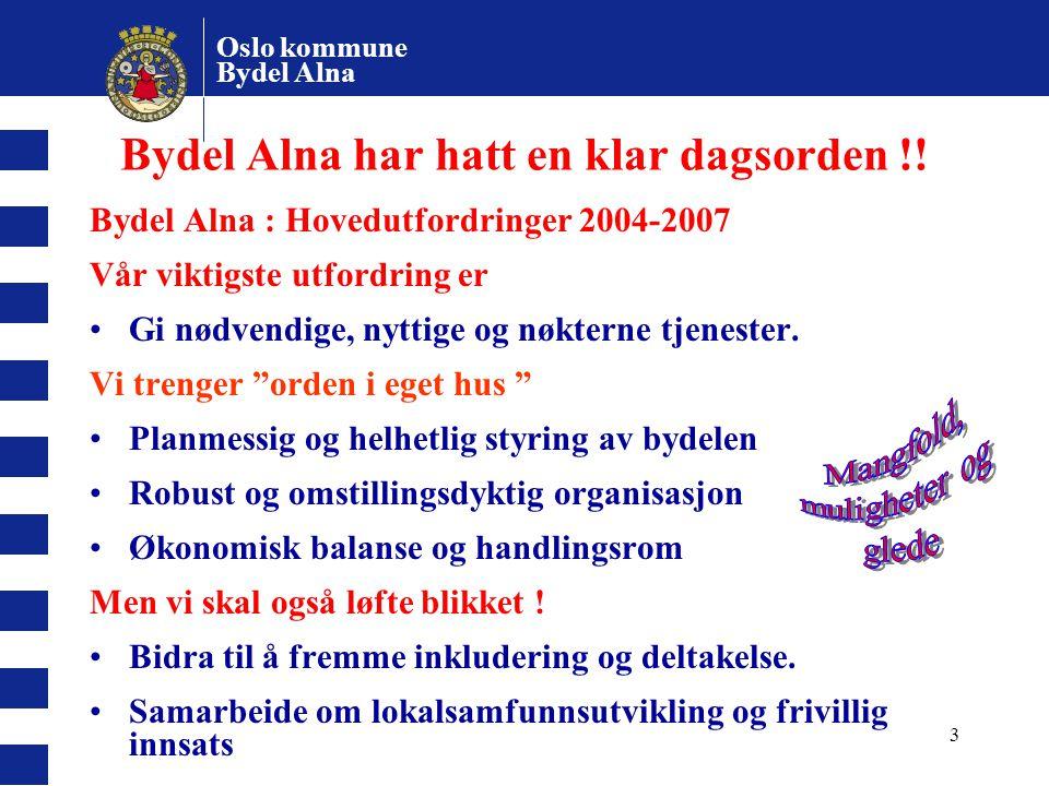 Oslo kommune Bydel Alna 3 Bydel Alna har hatt en klar dagsorden !! Bydel Alna : Hovedutfordringer 2004-2007 Vår viktigste utfordring er Gi nødvendige,