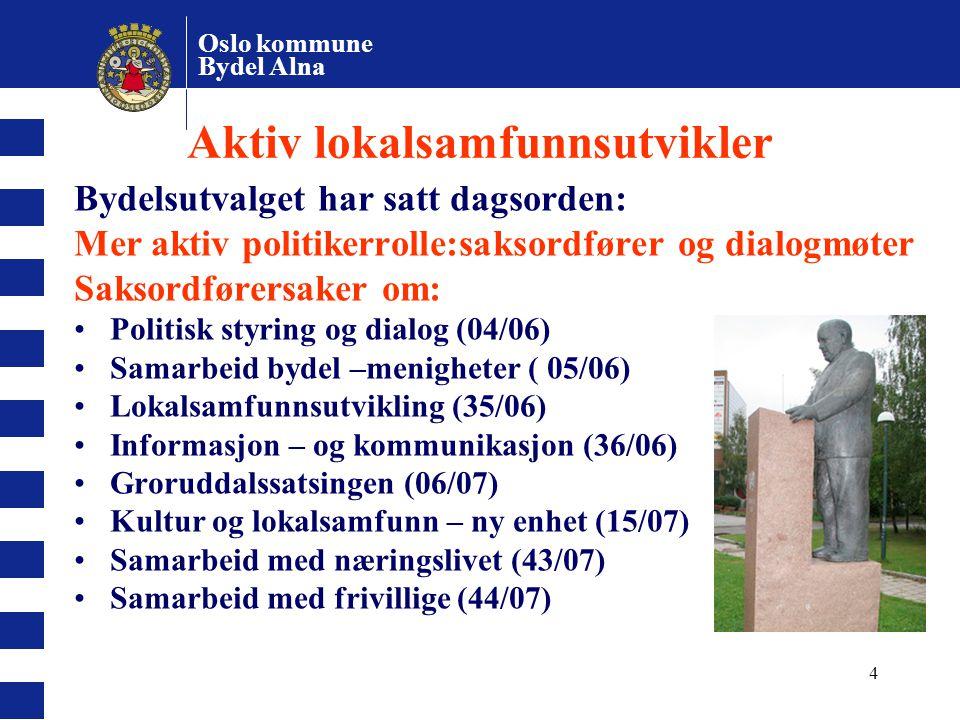 Oslo kommune Bydel Alna 4 Aktiv lokalsamfunnsutvikler Bydelsutvalget har satt dagsorden: Mer aktiv politikerrolle:saksordfører og dialogmøter Saksordf
