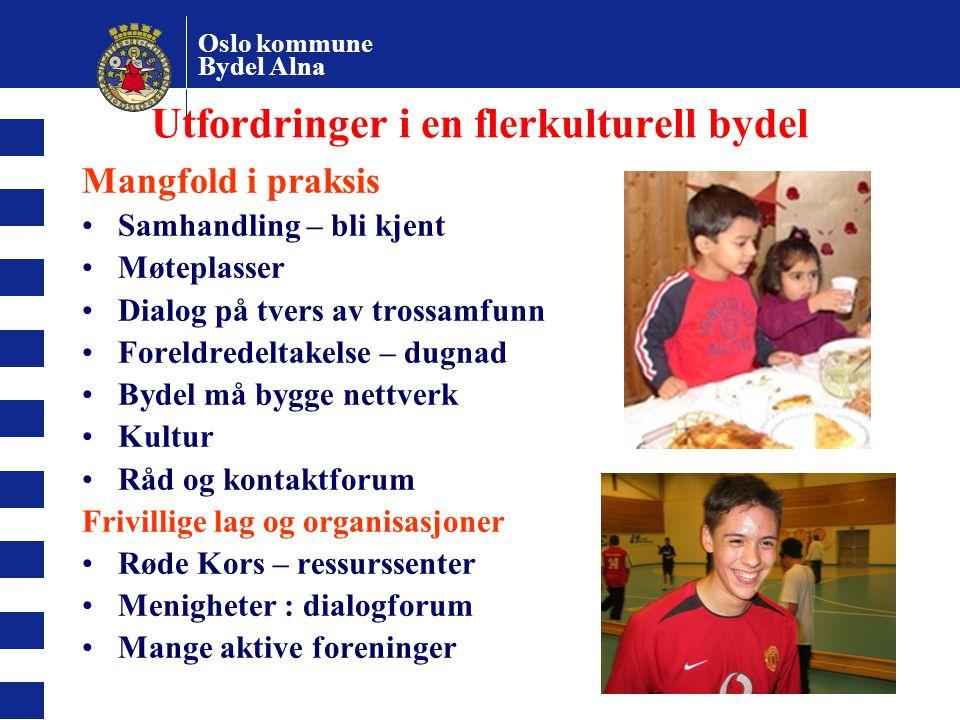 Oslo kommune Bydel Alna 6 Utfordringer i en flerkulturell bydel Mangfold i praksis Samhandling – bli kjent Møteplasser Dialog på tvers av trossamfunn