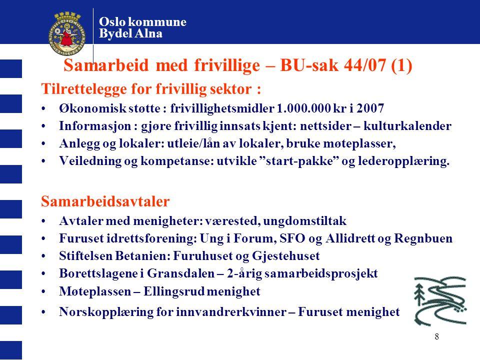 Oslo kommune Bydel Alna 8 Samarbeid med frivillige – BU-sak 44/07 (1) Tilrettelegge for frivillig sektor : Økonomisk støtte : frivillighetsmidler 1.00