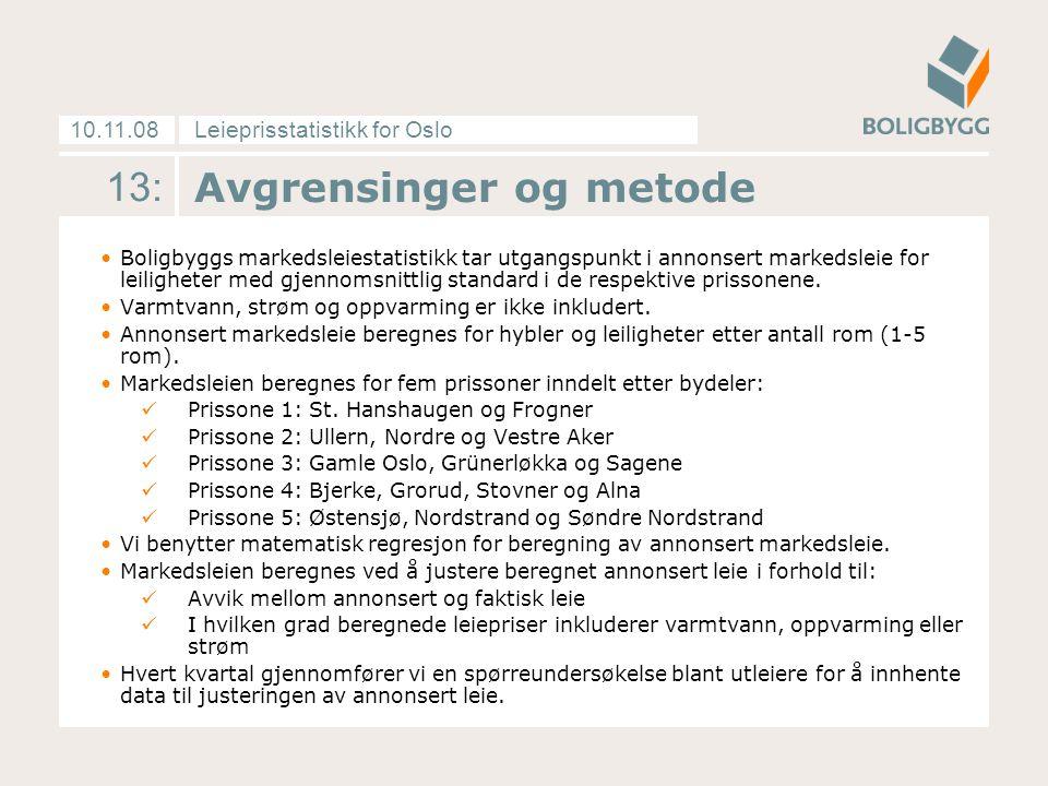 Leieprisstatistikk for Oslo10.11.08 13: Avgrensinger og metode Boligbyggs markedsleiestatistikk tar utgangspunkt i annonsert markedsleie for leiligheter med gjennomsnittlig standard i de respektive prissonene.