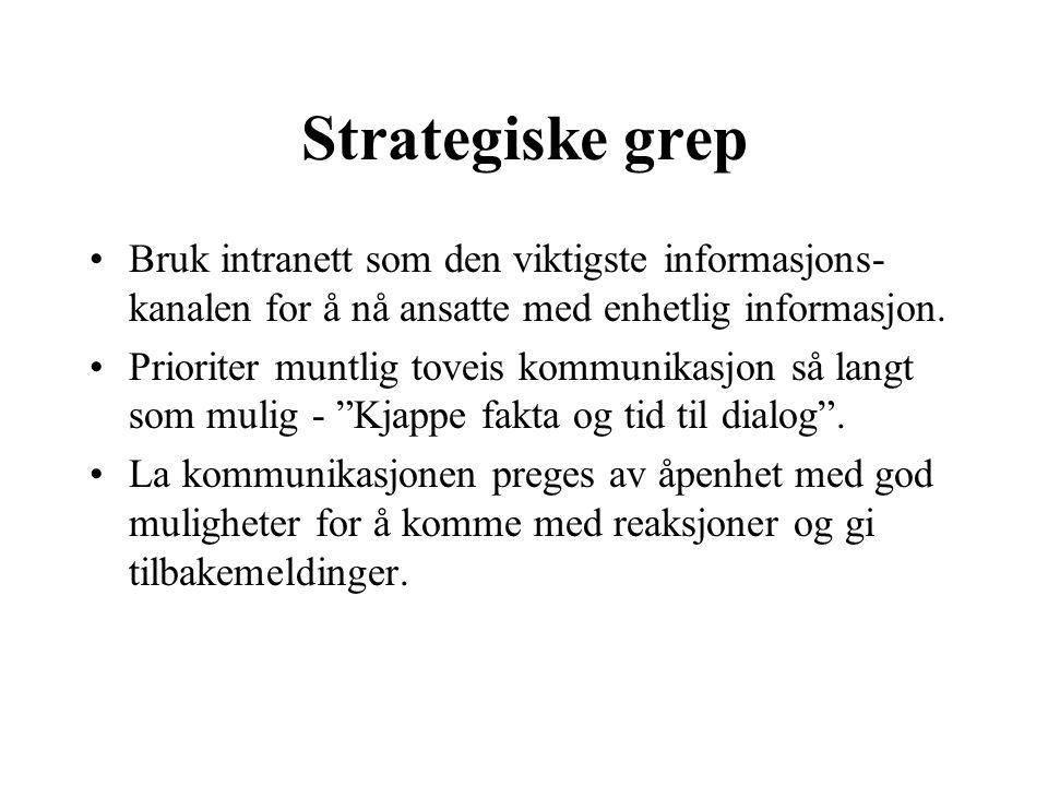 Strategiske grep Bruk intranett som den viktigste informasjons- kanalen for å nå ansatte med enhetlig informasjon. Prioriter muntlig toveis kommunikas