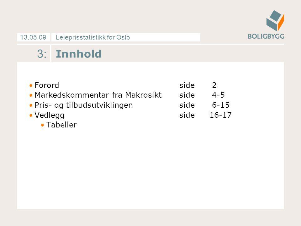 Leieprisstatistikk for Oslo13.05.09 3: Innhold Forordside 2 Markedskommentar fra Makrosiktside 4-5 Pris- og tilbudsutviklingenside 6-15 Vedleggside16-17 Tabeller