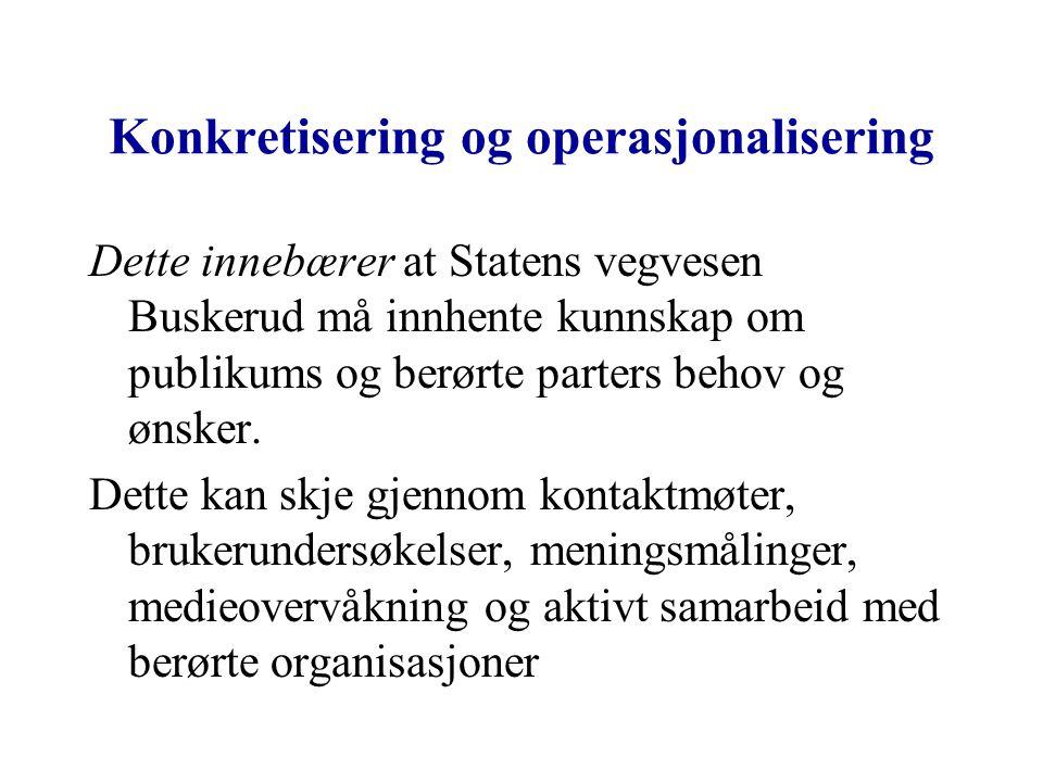 Konkretisering og operasjonalisering Dette innebærer at Statens vegvesen Buskerud må innhente kunnskap om publikums og berørte parters behov og ønsker