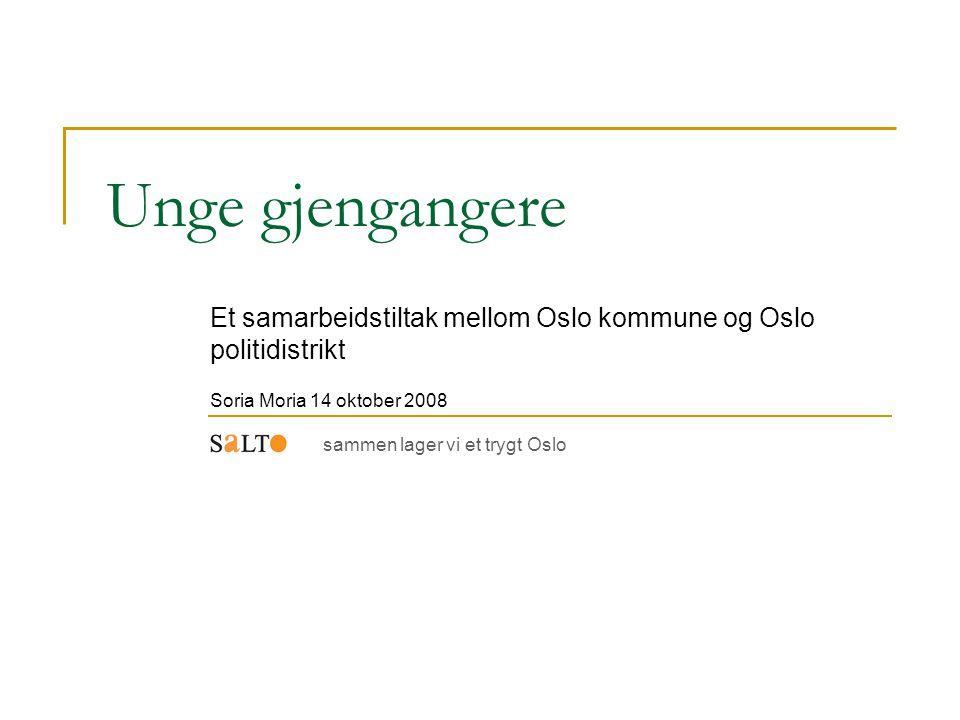 Unge gjengangere Et samarbeidstiltak mellom Oslo kommune og Oslo politidistrikt Soria Moria 14 oktober 2008 sammen lager vi et trygt Oslo