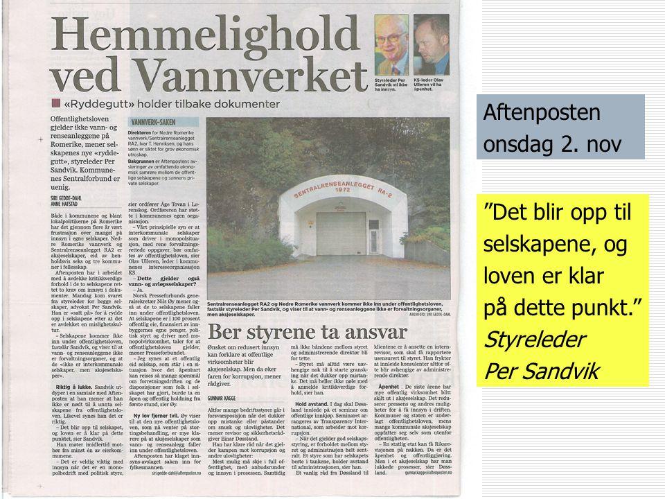 Arne Jensen Norsk Redaktørforening Ansvarsfraskrivelse?  Enheter som er helt eller delvis eid av Oslo kommune, men som er organisert som eget rettssu