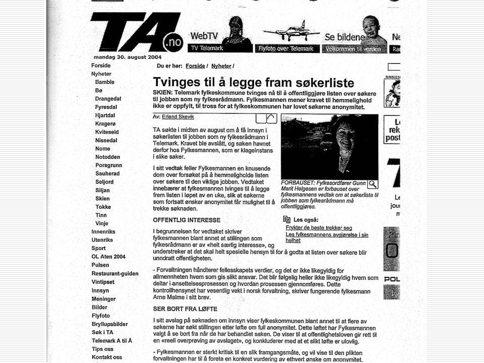 Arne Jensen Norsk Redaktørforening § 6 frts.  3) Statsrådets protokoller  4) Dokument i sak om ansettelse eller forfremmelse i offentlig tjeneste. U