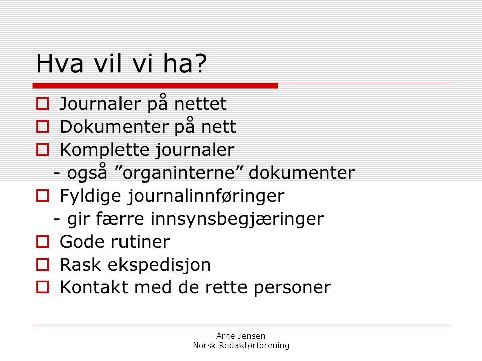 Arne Jensen Norsk Redaktørforening Søkerlister  Ikke plikt til å unnta navn  Søkerne har ikke krav  Må vurderes ut fra stillingens offentlige inter
